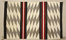 NAVAJO WEAVING, having three individual areas of g