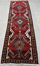 PERSIAN RUNNER, hand knotted in a three geometric