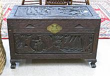 CARVED LIFT-TOP CAMPHOR WOOD BLANKET CHEST, Chines