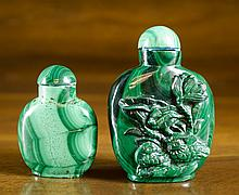 TWO CHINESE CARVED MALACHITE SNUFF BOTTLES, both f