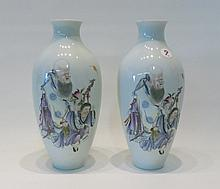 PAIR CHINESE PORCELAIN VASES, baluster form with t