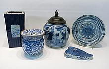 FIVE CHINESE BLUE AND WHITE PORCELAINS:  1 leaf wa