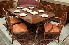 FEDERAL STYLE MAHOGANY DINING TABLE AND CHAIR SET,
