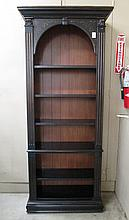 A TALL OPEN BOOKCASE, having four adjustable open