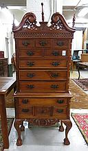 DIMINUTIVE FORM MAHOGANY HIGHBOY, an American Chip
