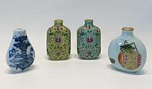 FOUR CHINESE PORCELAIN SNUFF BOTTLES of various  f