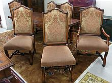 A SET OF SIX PROVINCIAL STYLE DINING CHAIRS, inclu