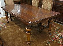A RECTANGULAR DRAW-LEAF DINING TABLE, antique repr