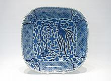 ASIAN BLUE AND WHITE PORCELAIN PLATTER of square f