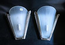 PAIR ART DECO STYLE WALL SCONCES by Prearo, Italy;