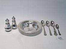 STERLING SILVER TABLEWARE AND FLATWARE, seven piec