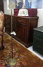 VINTAGE FLOOR LAMP WITH GLASS SHADE, American, c.