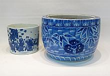 TWO CHINESE BLUE AND WHITE PORCELAIN VESSELS:  jar