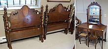 FIVE-PIECE WALNUT BEDROOM SET, American, c. 1920s,