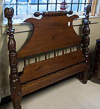 ANTIQUE FOUR-POST ROPE BED WITH RAILS, American, e