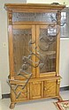 OAK GUN CABINET, American antique reproduction,
