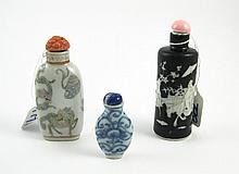 THREE CHINESE PORCELAIN SNUFF BOTTLES:  1 cylindri