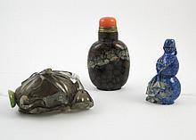 THREE CHINESE SNUFF BOTTLES in various forms and m