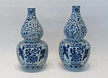PAIR OF CHINESE PORCELAIN DOUBLE GOURD VASES in  a