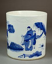 CHINESE PORCELAIN BLUE AND WHITE BRUSH POT, cylind