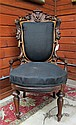 VICTORIAN CARVED ROSEWOOD PARLOR CHAIR attributed to John Henry Belter (American, 1804-1863), Renaissance Revival design, mid-19th century.
