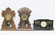 THREE AMERICAN CLOCKS: 1) Waterbury kitchen clock