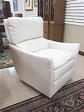 A CONTEMPORARY WHITE TANGO LEATHER SWIVEL ROCKER,
