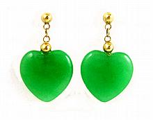 PAIR OF JADE AND FOURTEEN KARAT GOLD EARRINGS,