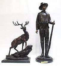 TWO BRONZE SCULPTURES consisting of an elk and a