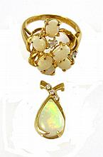 TWO ARTICLES OF OPAL AND DIAMOND JEWELRY,