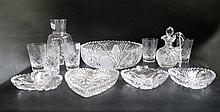 TWELVE CUT CRYSTAL TABLEWARE PIECES: set of 5