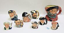 NINE ROYAL DOULTON CHARACTER AND TOBY JUGS: