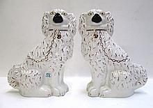 PAIR ENGLISH STAFFORDSHIRE PORCELAIN DOGS, in