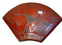 CHINESE LACQUER COVERED BOX, fan shaped, with red