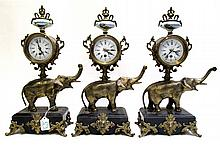 SET OF THREE FIGURAL ELEPHANT CLOCKS, gilt metal