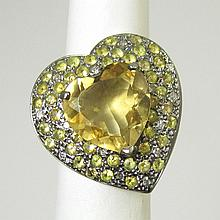 CITRINE, DIAMOND AND YELLOW SAPPHIRE RING. The