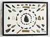 FRAME OF FIFTY-SEVEN NATIVE AMERICAN CHIPPED STONE