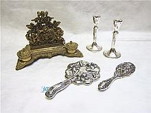 ASSORTED STERLING SILVER AND BRASS ITEMS; pair