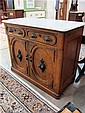 VICTORIAN OAK AND WALNUT SIDE CABINET, American, 19th century, having a rectangular white marble  top over a 2-door cabinet with drawers.  Dimensions:  37.75