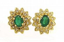 PAIR OF EMERALD AND DIAMOND EARRINGS, each 14k