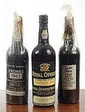 THREE BOTTLES OF VINTAGE PORT: 1900 Krohn Reserve;