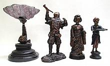 FOUR CAST BRONZE POLYCHROME FIGURALS consisting of