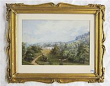 MANOR HOUSE AND PASTORAL LANDSCAPE, WATERCOLOR AND