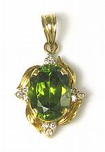 GREEN CUBIC ZIRCONIA AND DIAMOND PENDANT, with
