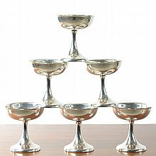 SET OF SIX STERLING SILVER CHAMPAGNE COUPES, by