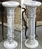 PAIR OF CARRARA MARBLE PEDESTALS, both of white