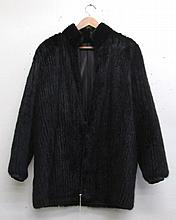 LADY'S MINK AND LEATHER REVERSIBLE COAT, black