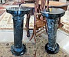 A PAIR OF BLACK ITALIAN MARQUINA MARBLE PEDESTALS,