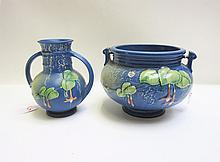 TWO ROSEVILLE ART POTTERY VESSELS, in the