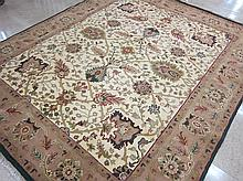 HAND KNOTTED ORIENTAL AGRA CARPET, overall floral